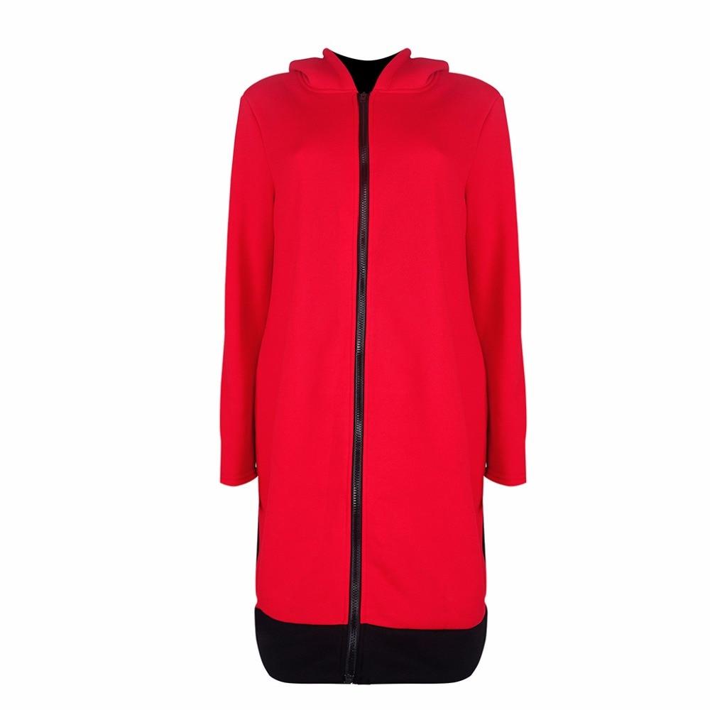 2018 New Arrivals Autumn Winter Black Blue Red Gray Long Sleeve Jacket+Hat Coat Windbreaker Jacket Women Coat Warm Women Coat