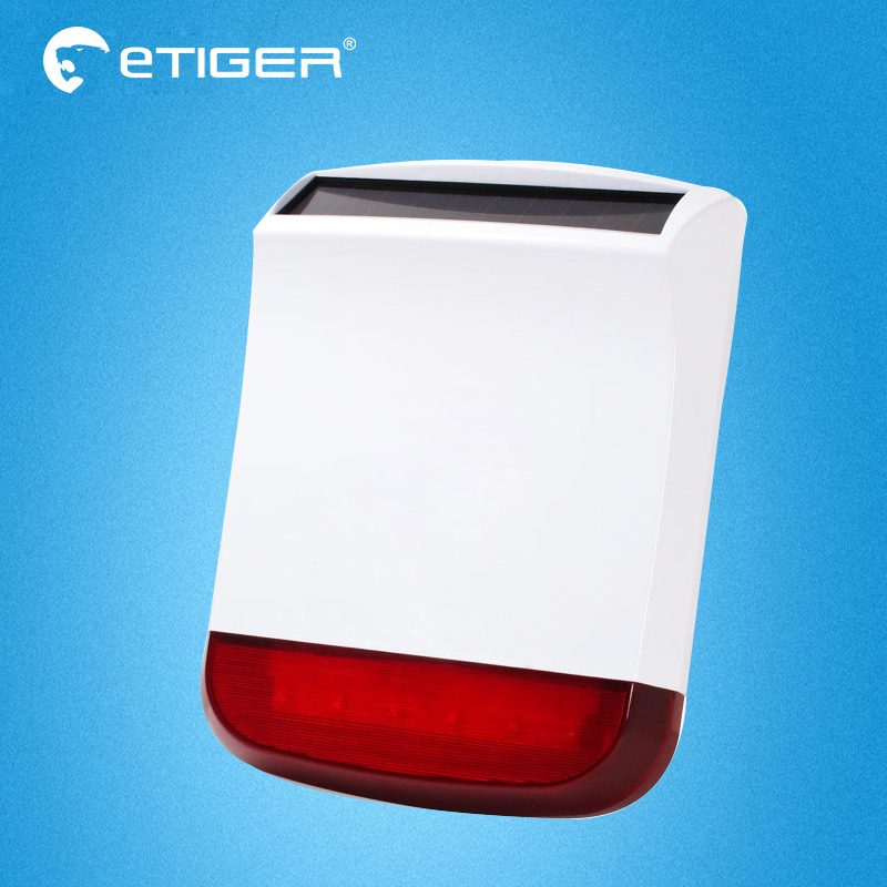Etiger Wireless Solar Powered Outdoor Strobe Siren For Etiger S4 S3B  Home Burglar Alarm System etiger s3b etiger gsm sms alarm system solar power siren indoor siren ip camera super kit as same as chuango g5