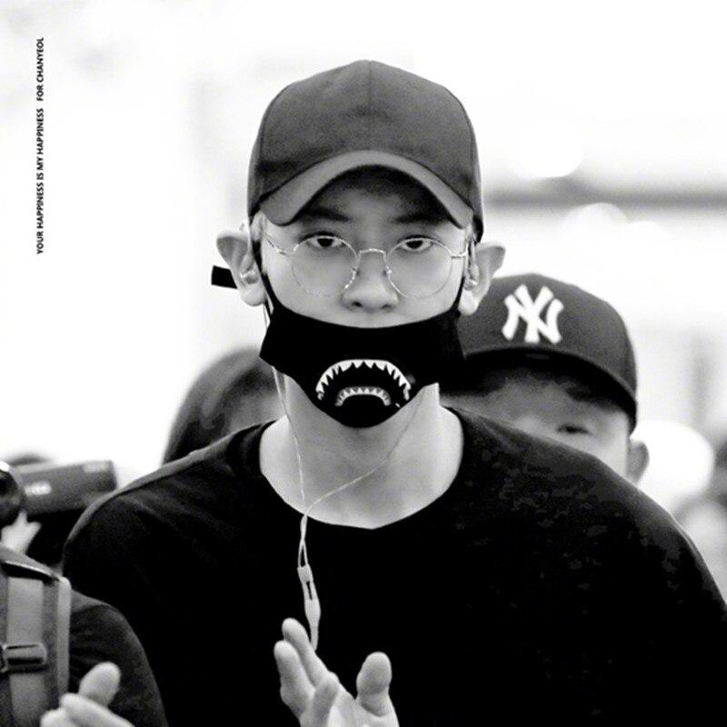2019 New KPOP EXO Chan Lie Masks Cotton Korean Version Men And Women Black Tooth Dust Masks Hip-hop Harajuku Mask