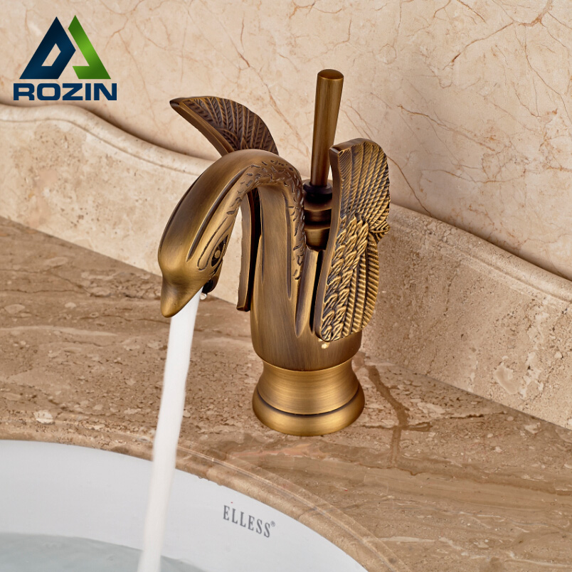 Brass Antique Swan Shape Bathroom Vessel Sink Mixer Faucet One Hole Cold Hot Water Taps Single Handle dropshipping golden countertop basin faucet one handle single hole brass vanity sink mixer taps with hot and cold water
