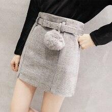 Зимние осенние шерстяные юбки женские с высокой талией Мини-юбка карандаш с поясом Горячие Короткие юбки уличная Saias faldas mujer