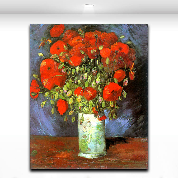 Flower Van Gogh Famous Painting Works Vase Of Red Poppies Oil Canvas