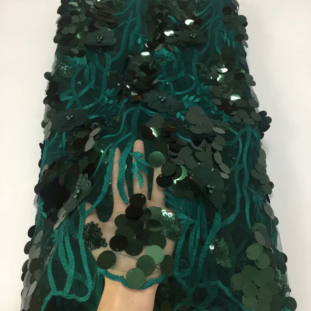 Top grade Emerald green rope embroidery African lace fabric 2018 grids mesh french lace with massive