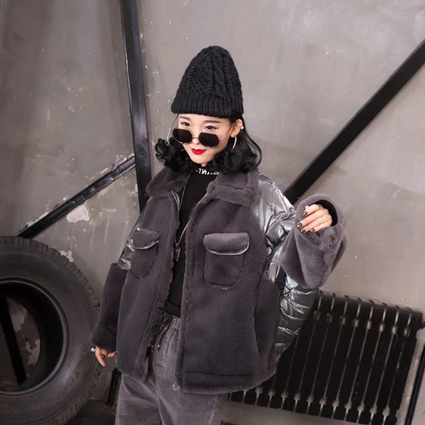 Fourrure patchwork chauve-souris à manches longues parkas manteaux femme épaissir style décontracté vestes hauts 2019 hiver nouveaux vêtements mode gx1524