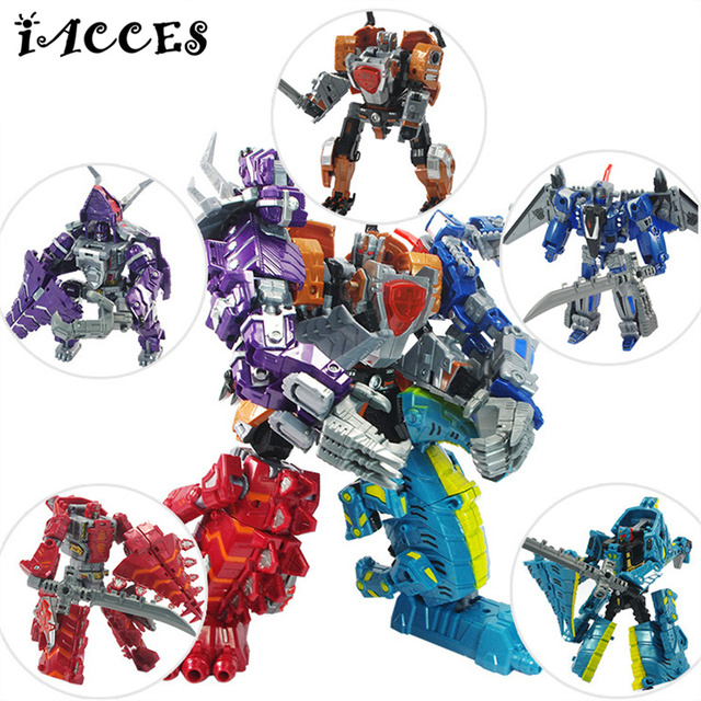 New Arrival 5 in 1  4 Anime Dinosaur Brinquedos Dragon Deformation Robot Action Figures Classic Toys Boys Juguetes Gifts