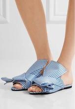 2018 Summer Newest Ladies Big Bow Flat Sandals Peep Toe Blue/White Stripe Women Satin Slides Female Slip On Fashion