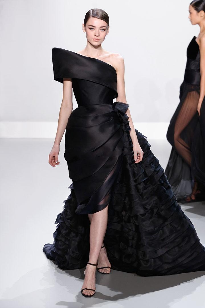 2015 Amazing Ralph Amp Russo Sexy Black Organza Prom Dresses