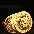 Lion Head Cool Band Ring  Yellow Gold Filled Hip Hop Mens Ring Size 7-11