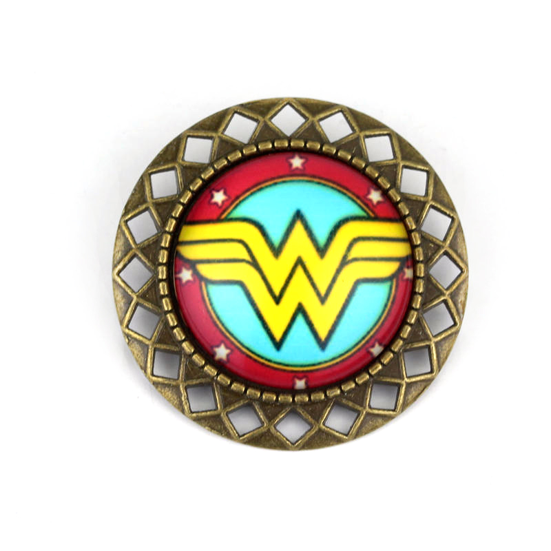 dongsheng Fashion Movie Jewelry Wonder Women Badge Brooches Marvel Super Hero Brooch Glass Cabochon Pin Brooches Gift-40