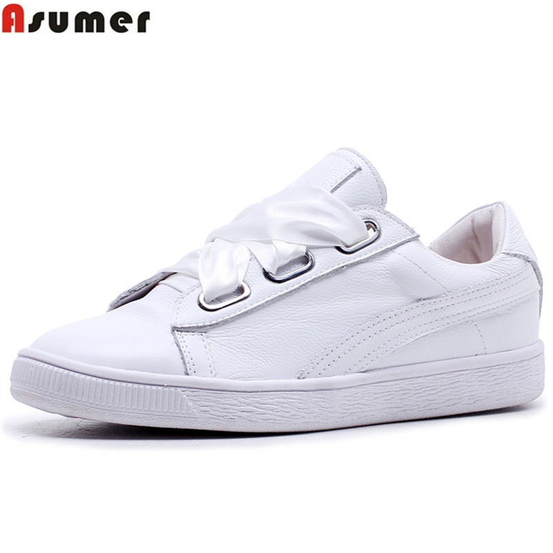 ASUMER black pink fashion spring autumn flat shoes woman round toe cross tied casual sneakers women genuine leather flats asumer black fashion spring autumn ladies shoes round toe lace up casual women flock cow leather shoes flats