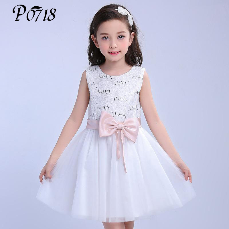 Children Kids Princess Lace Dresses 2018 New Summer Sleeveless Girls Sequins Bow Party Wedding Dress White Teen Girls Clothes summer new baby girl clothes sleeveless birthday party wedding girls dress princess bow lace children clothing dresses for kids