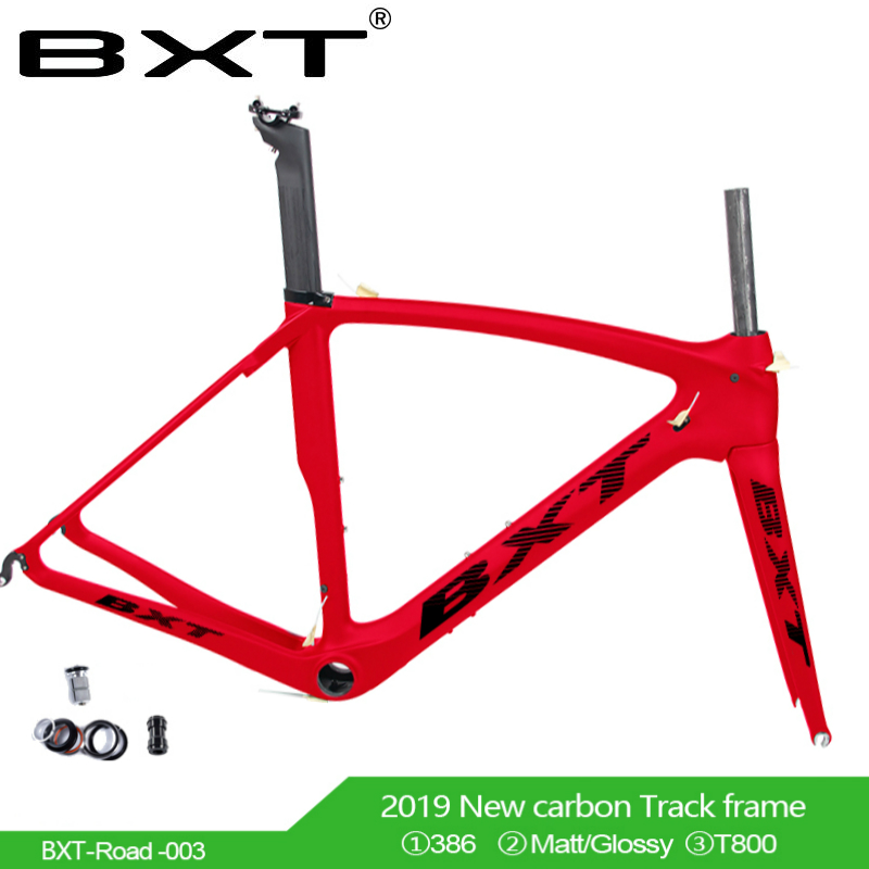 Carbon Road Bike Frame UD BB386 V Brake Frameset Full CarbonBicycle 53 55 Cm Fork Super Light Frame + Fork + Seatpost +  Clamp