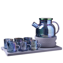 Creative Afternoon Tea Set Flower Teacup Colorful Glass boil  Fruit Candle Heated Teapot Cement Furnace seat