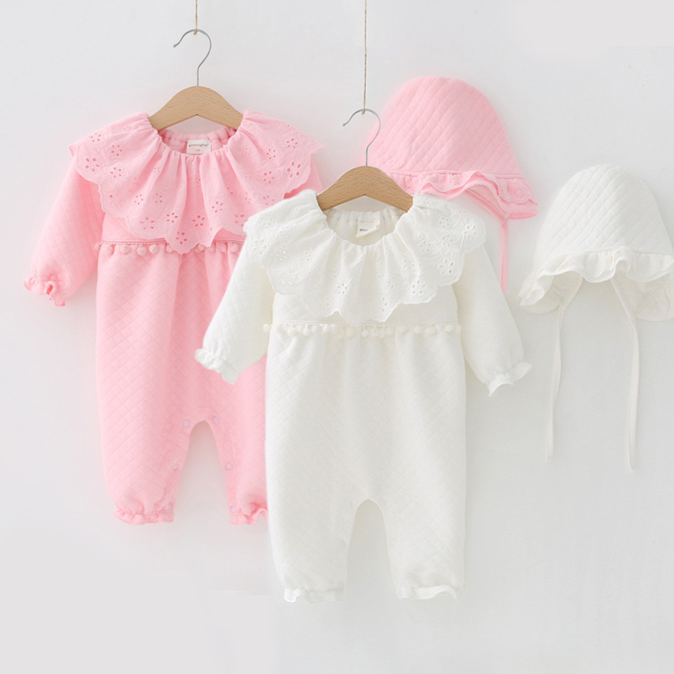 Newborn Baby Winter Warm Clothing 3-18m Girl Pink Thicken   Rompers   + Hats Infant Cotton Climbing Clothes Baby Boy Jumpsuit Pajama