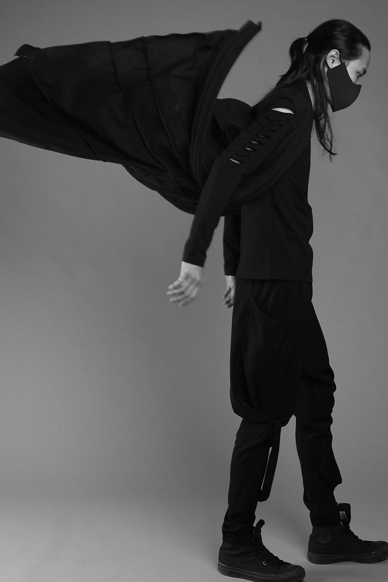 Темно выше колена халаты личности прилив мужской Порты и разъёмы ветер кардиган стилист пальто Готический плащ ветровка