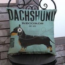 Vintage perro salchicha negro gris marrón cachorro con auriculares decoración del hogar cojines cubiertas para cojines De lino 45x45cm Funda De Cojin
