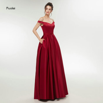 In Stock Burgundy Sexy Satin Evening Dresses 2018  Long Prom Dresses Evening Party Dresses Evening Gown Off the Shoulder