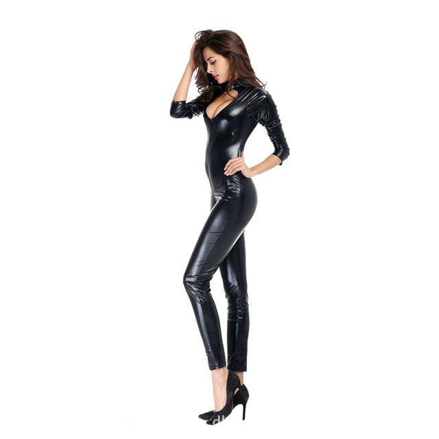Sexy Catsuit PU Leather Front Zipper
