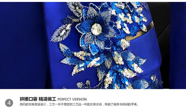 Ensemble trois pièces costumes hommes chanteurs effectuer scène spectacle paillettes brodé fleur rouge bleu rose Costume de mariage Costume Homme - 6