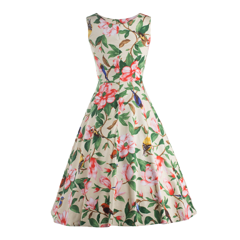 LERFEY Summer Dress Floral Print Pleated Casual Dresses Vintage Retro  Rockabilly Sleeveless Dress Womens Clothing-in Dresses from Women s Clothing  on ... 3910984f7810