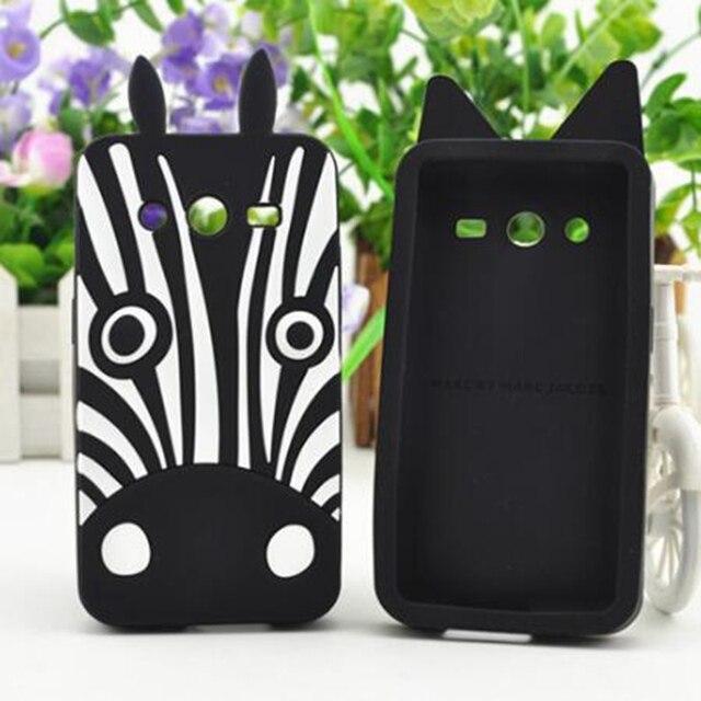 f28bada7aa4 Funda de silicona para Fundas Samsung Galaxy Core 2 G355H contraportada 3D  lindo perro cebra de