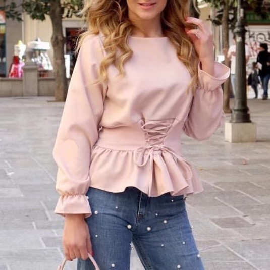 Bazaleas 2017 Pink belted lace up pink satin long sleeve shirt women spring summer O neck  blouse