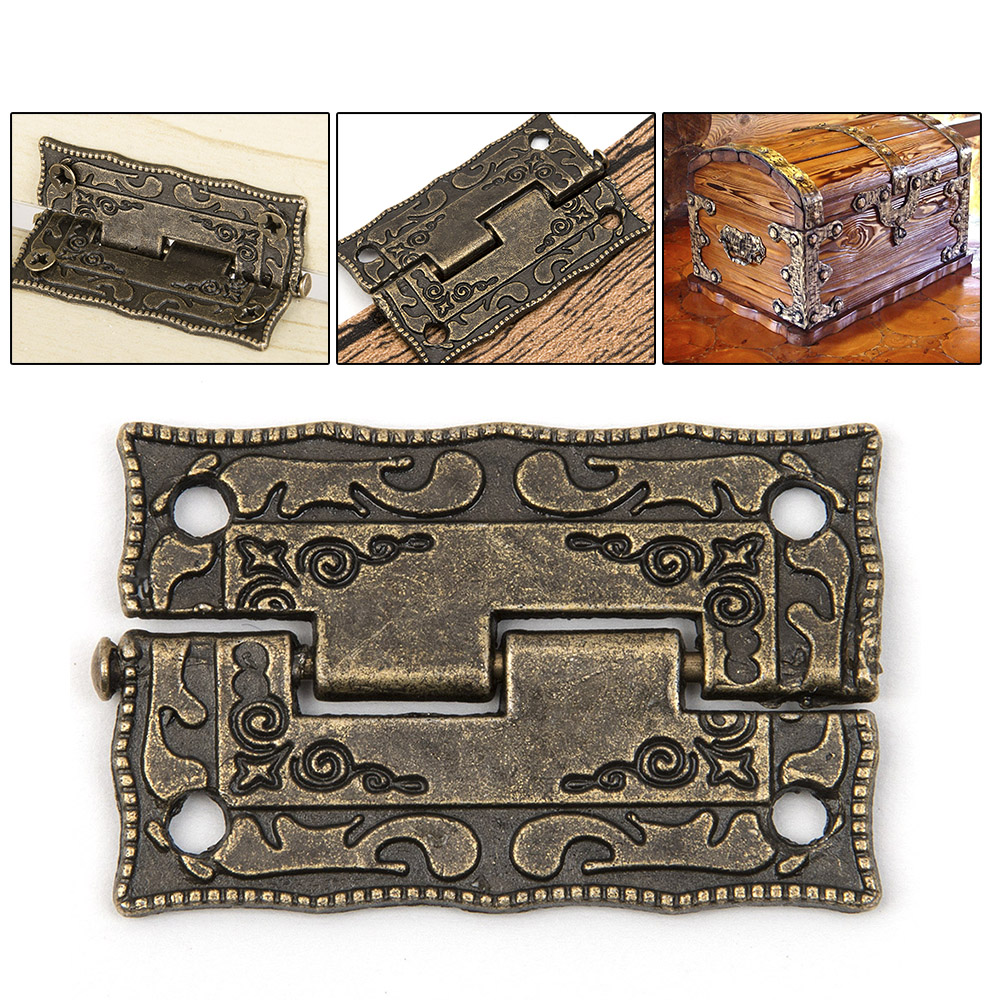 10pcs/set Cabinet Door Butt Hinges Mini Drawer Bronze Decorative Mini Hinges For Cabinet Storage Wooden Box Vintage