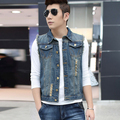 Unique Design Men's Slim Denim Vest Spring and Autumn Cowboy Fashion Hole Denim Vests