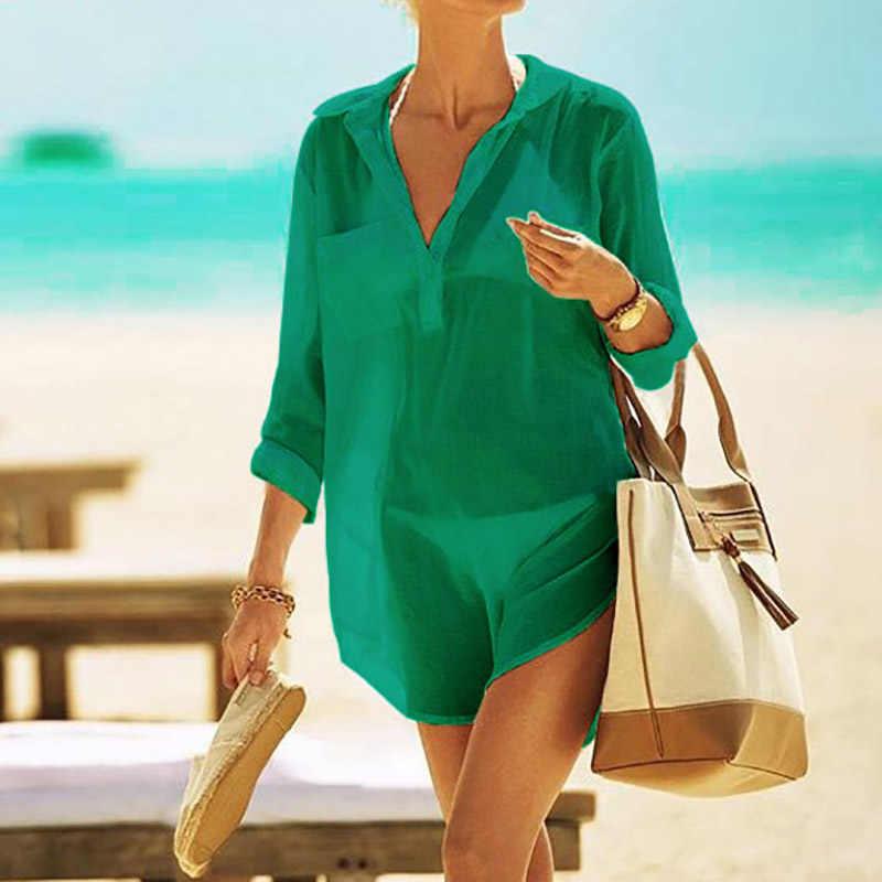 94224c5bdf3e1 ... 2019 Cotton Tunics for Beach Women Swimsuit Cover up Woman Swimwear  Beach Cover up Beachwear Pareo ...