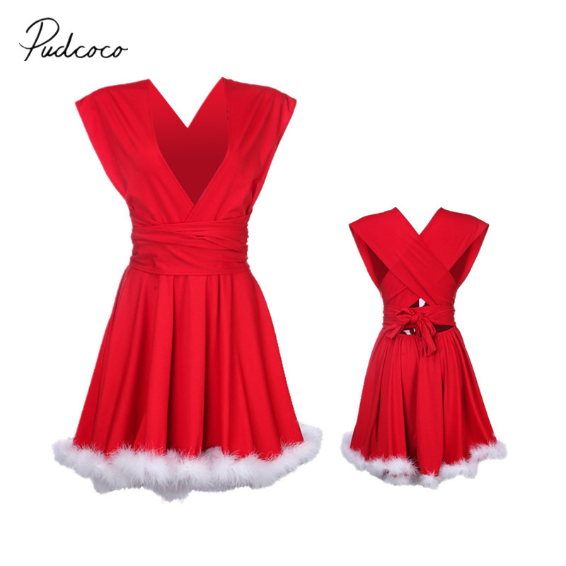 2018 Brand New Christmas Family Matching Dress Party Fancy Furry Dresses Mother Daughter Red Outfits Xmas Clothes Santa Sets Платье