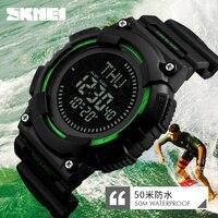 SKMEI Mężczyźni Sportów Zegarek Kompas LED Cyfrowe Zegarki Wojskowe Mężczyźni Zegar Odliczający Wielofunkcyjne Rękę Relogio Masculino