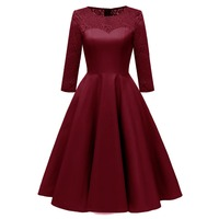 Sisjuly Women Fall Spring Winter Evening Party Work Satin Hollow Out Floral Lace Dress Burgundy Blue Pink Wine Red Midi Dresses