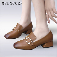 Size 34-43 New Spring Autumn Genuine Leather Shoes Women Square Toe Low heeled Buckle Casual Slip On Zapatos Mujer Loafers Shoes