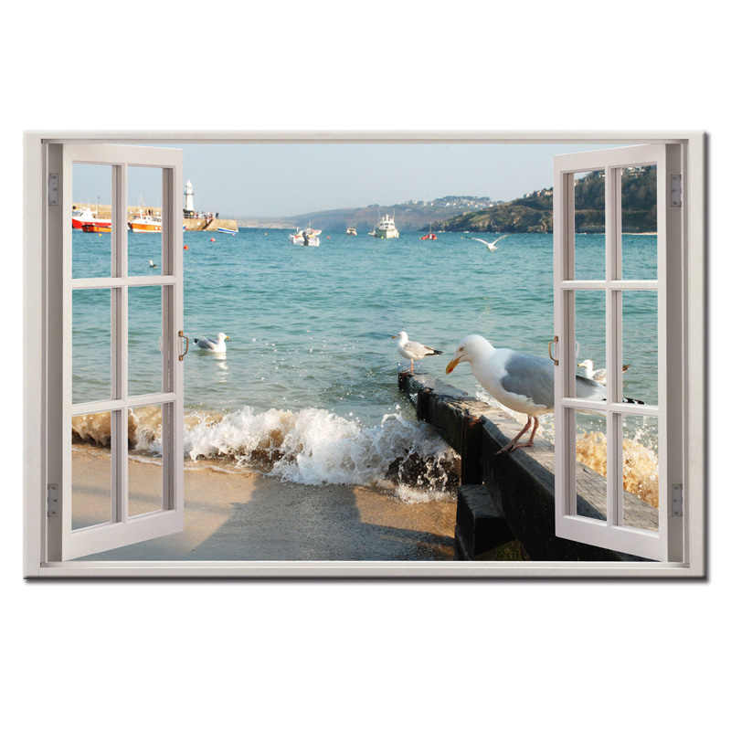 Framed Wall Art Picture Gift Home Decoration Canvas Print painting Window landscape series wholesale
