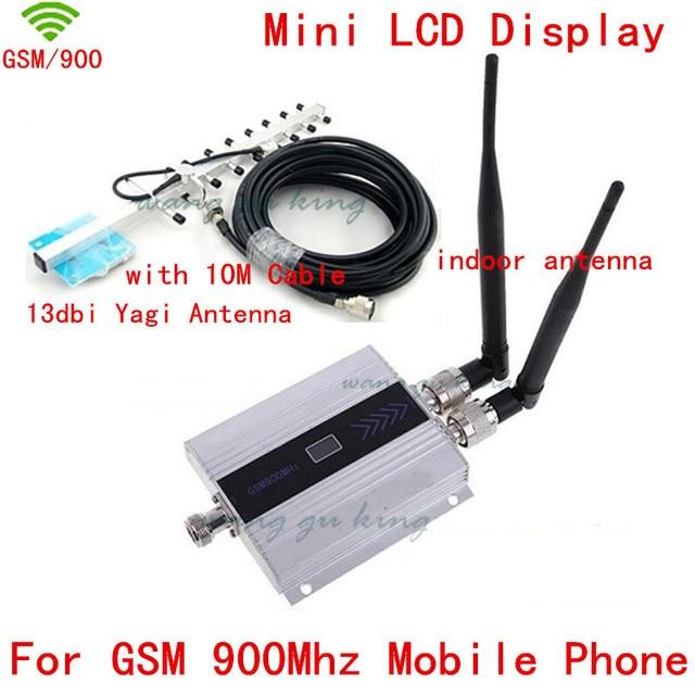 Celular GSM repetidor de sinal de celular GSM signal booster com 2 pcs antena interna + 13db yagi antena gsm amplificador de sinal display LCD