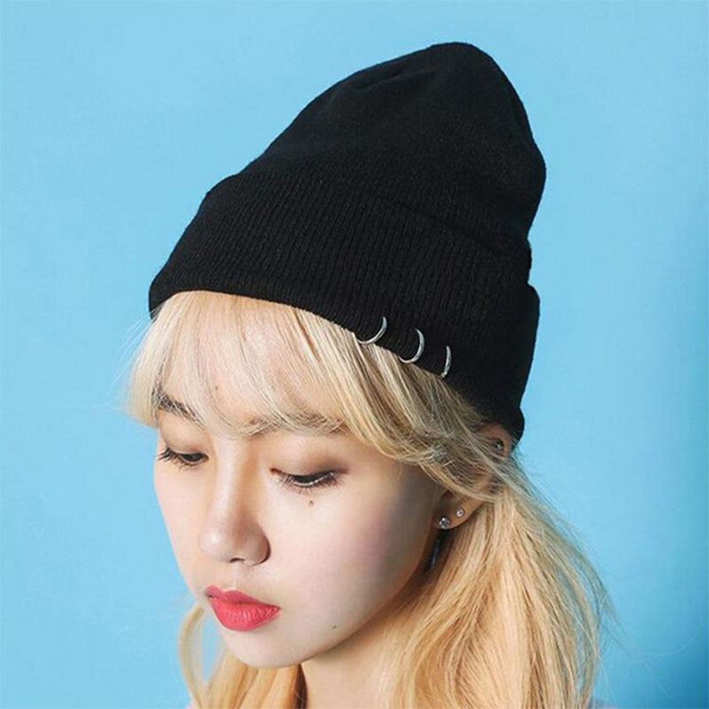 Women's Korean Harajuku Style Male Caps Ring Rivet Knitted Caps Winter   Skullies     Beanies   Men's Hip hop Warm Gorro Hats