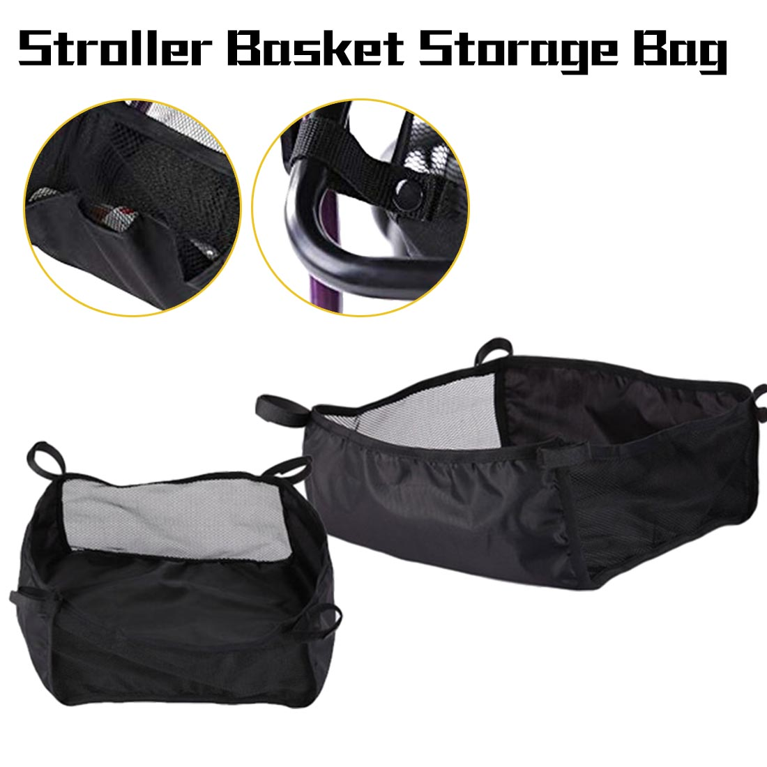 Stroller Basket Storage Bag Universal Portable Shopping Basket Baby Care Infant Stroller Accessories