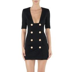 2019 Elegant Party Double Breasted Dress Fashion Solid Black White V-neck Femme Dress Slim OL Formal Vestidos De Verano Jurken 5