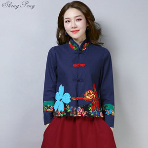 Image 5 - Traditional chinese clothing for women cheongsam top mandarin collar womens tops and blouses oriental China clothing V1362
