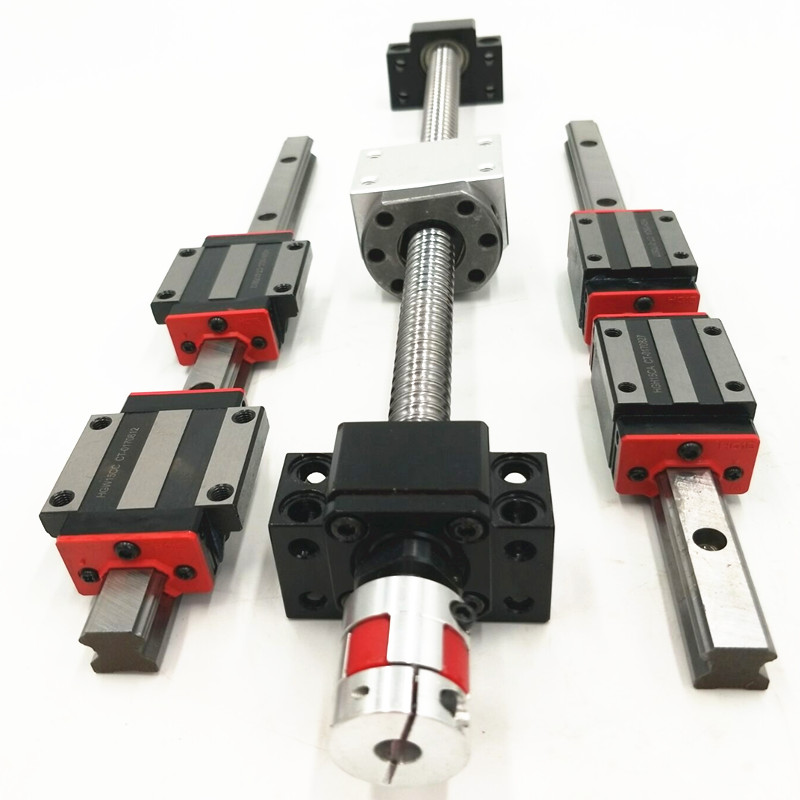 4 HBH20CA Square Linear guide sets +1 x SFU1605-300mm Ballscrew CNC sets + BK BF12 +1  Coupler + nut housing 12 hbh20ca square linear guide sets 4 x sfu2010 600 1400 2200 2200mm ballscrew sets bk bf12 4 coupler
