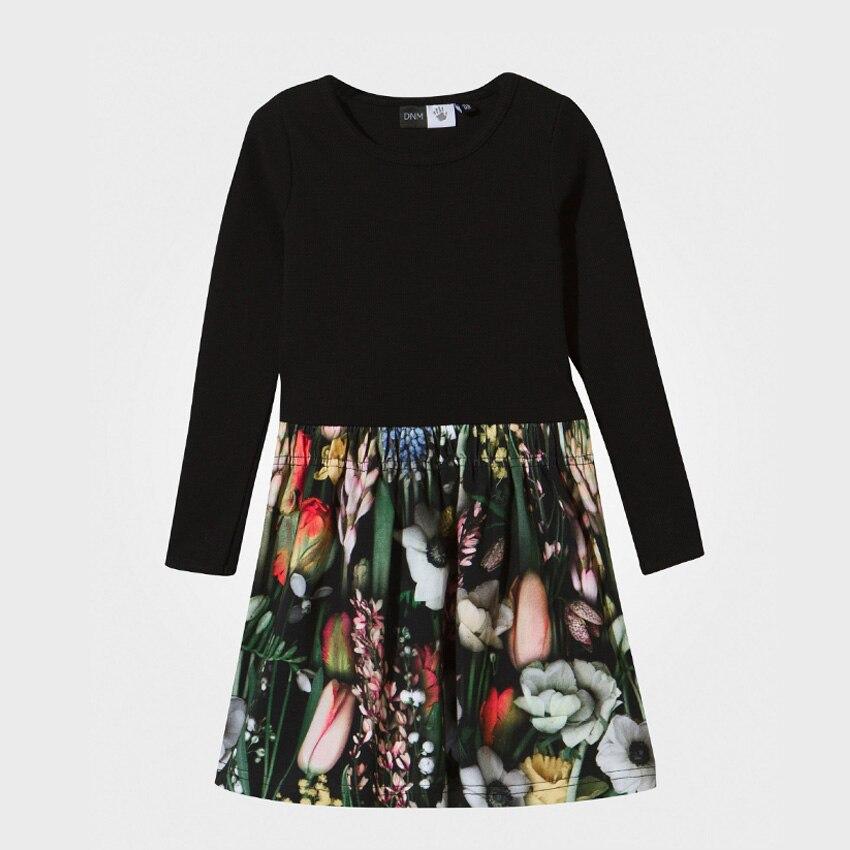 Teenage Girl Dress 2016 Autumn Knee-length Floral Print Long Sleeve Vestido Infantil Kids Princess Frock for Costume Girl