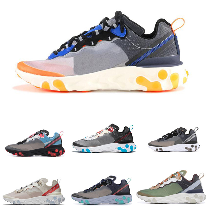2019 Epic React Element 87 running shoes for men women Neptune Green Blue Black White breathable sports sneakers Size 36 45