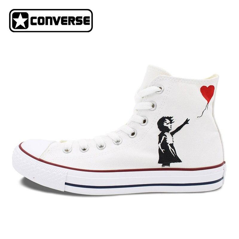купить Men Women Converse All Star White Shoes Love Air Balloon Design Hand Painted Shoes High Top Man Woman Sneakers Christmas Gifts онлайн