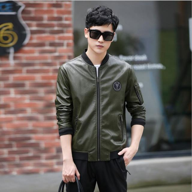 New Fashion Autumn Men's Baseball collar Leather Jackets Men Motorcycle Leather Clothing male Business casual Plus Size Coats
