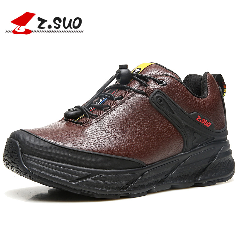 ZSUO Men Genuine Leather Winter Ankle Shoes Zapatos De Hombre Casual Fashion Lace Up Safety Work Outdoor Male Footwear Loafers fashion high top mens genuine leather work casual shoes lace up tenis flats footwear breathable male shoes punk zapatos hombre