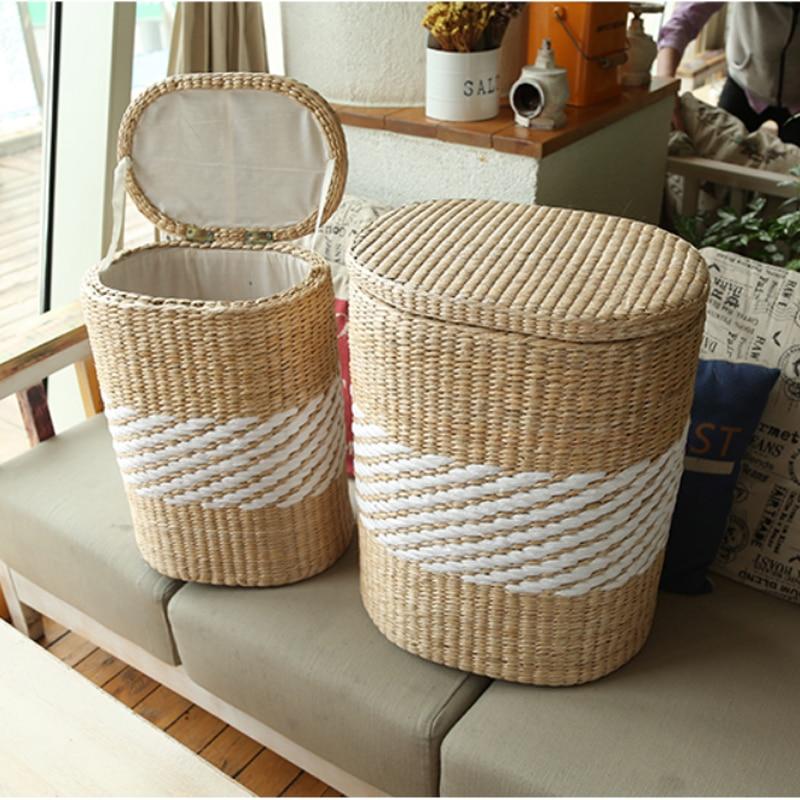buy small large home wood wicker rattan storage basket bin with lids vintage. Black Bedroom Furniture Sets. Home Design Ideas