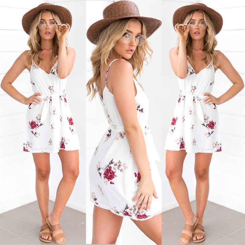 Kwiatowy Print sukienki letnie Boho Spaghetti pasek kobiety sukienka biały dekolt w serek Tassel Backless Sexy Vestidos 2018 plaża sukienka