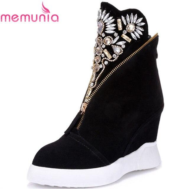 MEMUNIA Phụ Nữ của bò da lộn da mắt cá chân khởi động chân nhọn nêm giày cao gót giày thời trang mùa thu rhinestone phụ nữ khởi động phụ nữ