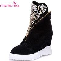 MEMUNIA vaca ankle boots de couro camurça apontou cunhas dedo do pé das Mulheres sapatos de salto alto moda outono strass sapatas das mulheres