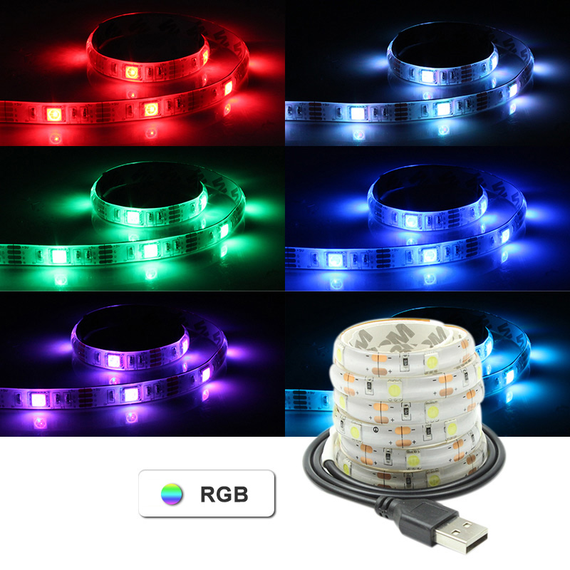 2018 5V USB LED Strip Light RGB Flexible Waterproof TV Background Lights Decor SMD5050 30LEDS White / Warm White / Blue / Green